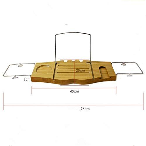 Good Salontafel Tv-standaard lamp telefoontafel sofa bijzettafel eiken tafel bamboe badkuip caddy dienblad verstelbaar badkuip caddy rek organizer badtafel voor boek, tablet, ki 45 cm x 20 cm bruin