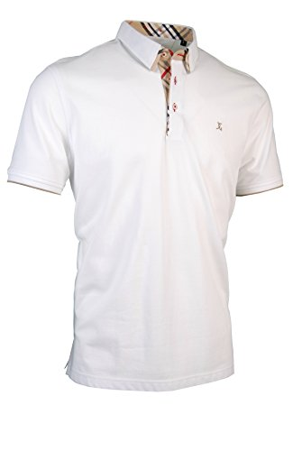 Premium-Poloshirt von Giorgio Capone, einzigartiger Hemdkragen, Pique-Stoff 100% Baumwolle, Weiß, Regular Fit (XXL)
