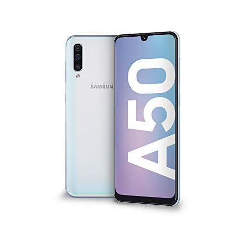 "Samsung Galaxy A50 Smartphone, Display 6.4"" Super AMOLED, 128 GB Espandibili, RAM 4 GB, Batteria 4000 mAh, 4G, Dual Sim, Android 9 Pie,  [Versione Italiana], White"