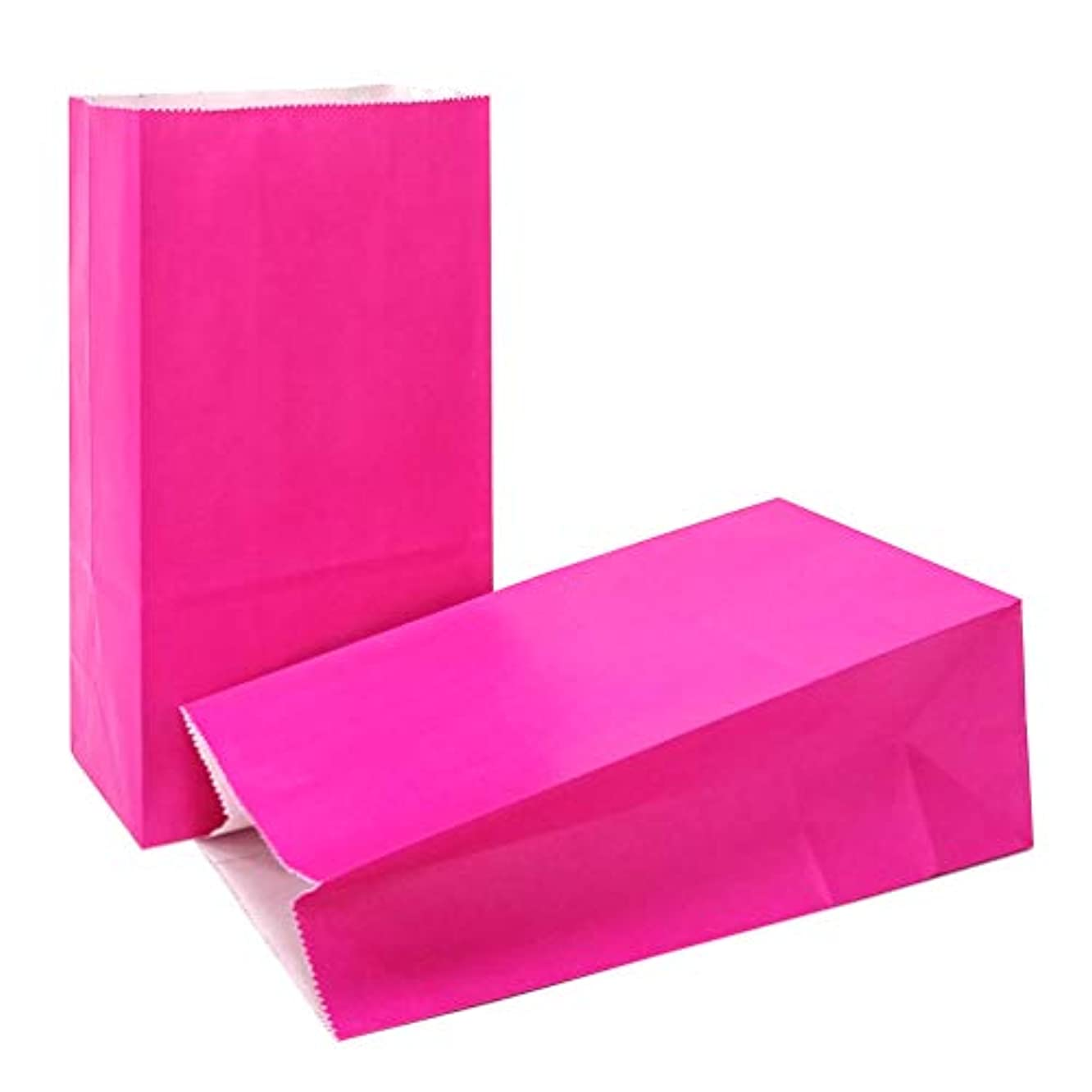 KEYYOOMY 50 CT Small Paper Bags Magenta Party Favor Bags for Wedding Baby Shower Kid's Birthday Party ( Pink, 50 CT, 3.1 X 5.1 X 9.4 in)