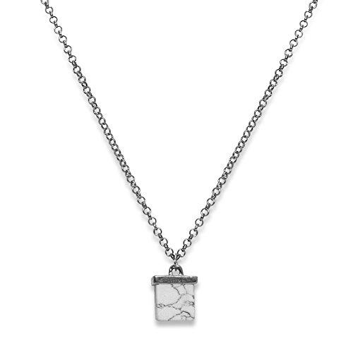 Soul-Cats® Kette mit Steinwürfel weiß Metall Stein Halsschmuck Halskette Ehtno, Modell:Modell 2