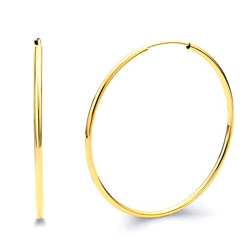 High Polished, 14k White Gold 2mm Thick Round Tube Endless Hoop Earrings 65mm