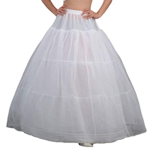 Mikiya Womens Bruidsjurk, 3 banden, maxi-lengte, Pettico, koord, riem, meerlaags, trouwjurk, bustel, onderrok