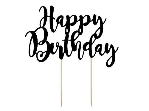 Party Deco Tortenstecker für Geburstagstorte - Happy Birthday - Schwarz, 22,5 cm - Tortendekoration, Kuchendeko, Cake-Topper, Cupcake Topper für Geburtstag, Babyparty, Jubiläen
