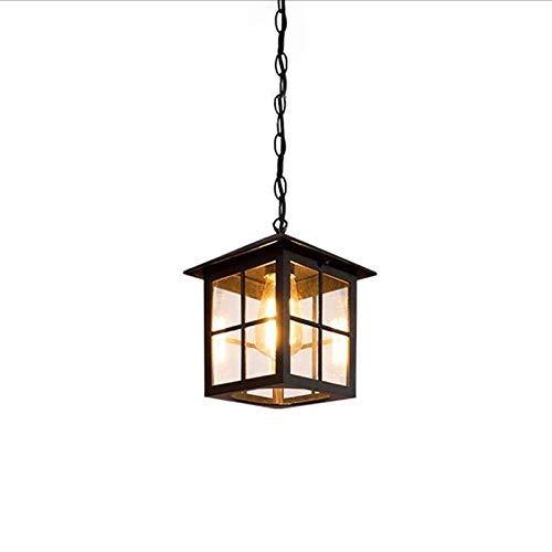 YYCHJU Durabilidad a Largo Plazo candelabro Araña de Luces, Vidrio de Aluminio Resistente al Agua 1 luz Cuadrada Vintage Aceite Negro jardín iluminación Colgante luz Art Deco