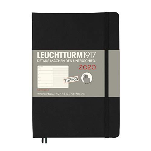 Wochenkalender & Notizbuch 2020 Softcover Medium (A5), 12 Monate, Schwarz, Deutsch
