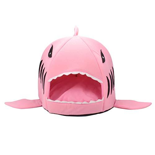 XHPWW Productos para Mascotas Cama de casa para Mascotas cálida y Suave Bolsa de Dormir, Perrera para Perros Tiburones Cama para Nido de Gato Casa para Gatos-Rosa-A-M