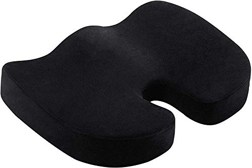 Deer Relax Seat Cushion, Gel Orthopedic Memory Pillow Chair Cushion, Foam U Travel Massage Chair Cushions, for Home Office Comfortable (Color : Black)