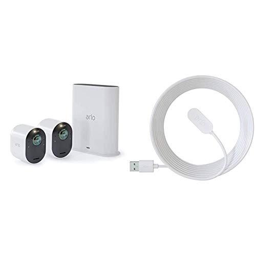 Arlo Ultra 4K HDR   Caméra de Surveillance WiFi sans Fils. Grand Angle 180° Spot intégré, Pack de 2 caméras & Accessoires Arlo Ultra et Pro 3 - Câble de Recharge Magnétique d'Intérieur 2,4m