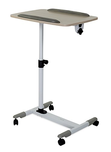Mount-It! Rolling Laptop Cart | Heavy-Duty Mobile Laptop Desk with Wheels | Height Adjustable Tilting Bedside Sofa Couch Recliner Tray with Wheels (MI-7946)