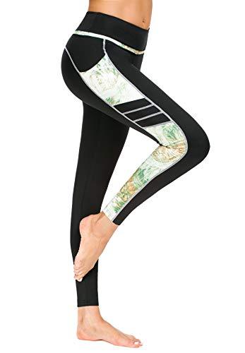 New Mincc Pantalon de Sport Leggings Basique pour Femme Imprimé Motif Long avec Poche Yoga Fitness Push-up Legging Minceur (Noir&Vert,L)