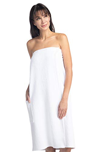 Fishers Finery Women's Ecofabric Resort Style Spa Wrap; Terry Cloth White