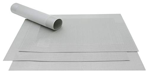 Zollner - Juego de 4 manteles individuales (32 x 47 cm, PVC, resistentes al calor), color plateado