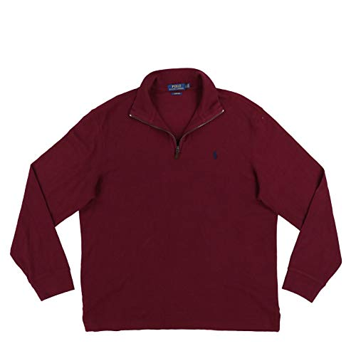 Polo Ralph Lauren Mens Quarter Zip Estate Rib Sweater (L, Maroon)