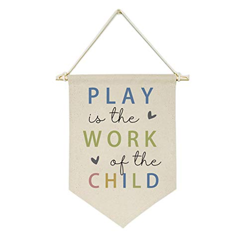 Topthink Play is The Work of The Child - Canvas Hanging Flag Banner Wall Sign Decor Gift for Baby Kids Girl Boy Nursery Teen Room Playroom Front Door - Heart