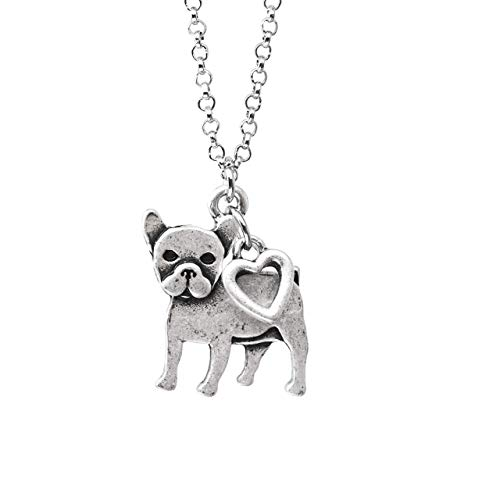 French Bulldog Boston Terrier Charm Necklace, Pet Dog Lover Gift, Silver Metal with Heart Pendant on a Chain, Ladies I Love Small Puppy