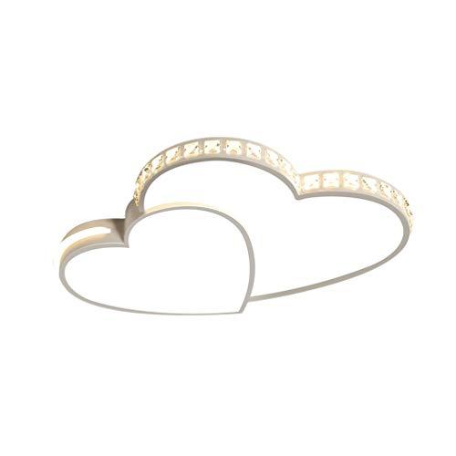 24w LED Deckenleuchte Dimmbar mit Fernbedienung, Herz Form Design Kristall Acryl Deckenlampe Metal Deckenstrahler für Wohnzimmer Esszimmer Schlafzimmer Bad Küche Lampen L50*W40*H6cm