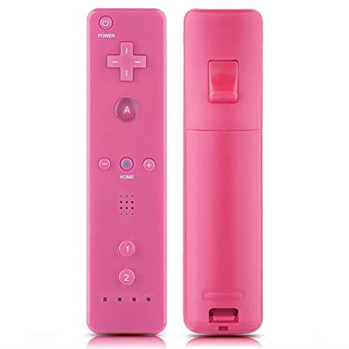 Yunir Controller di Gioco Wireless con Copertura in Gomma e Cinturino da Polso, Telecomando con Impugnatura di Gioco Antiscivolo con Joystick analogico per Console Nintendo WiiU Wii(Rosa)