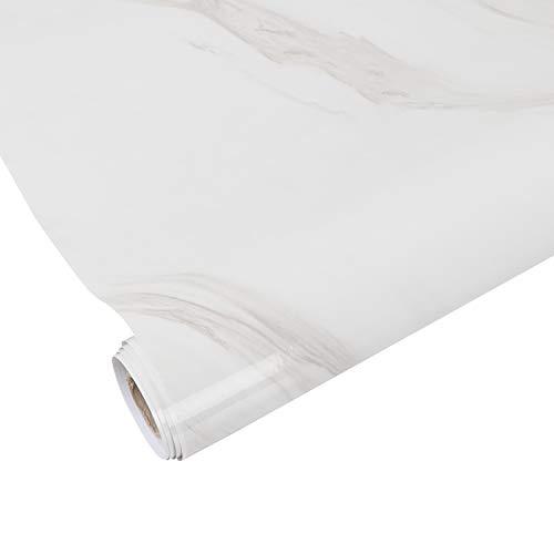 AWNIC Vinilo Mármol Blanco para Encimera Cocina Impermeable Papel Autoadhesivo Pegatinas para Forrar Muebles Mesas Armarios 500X61cm