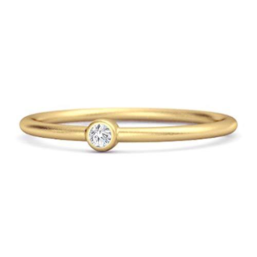Shine Jewel Multi Elija su Anillo pequeño apilable con Solitario de Piedras Preciosas de Plata de Ley 925 de 0,02 CTS Chapado en Oro Amarillo (16, cz Blanca)
