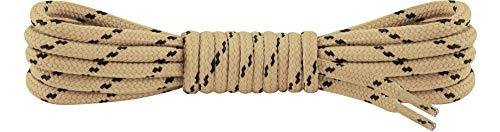 Ladeheid Qualitäts-Schnürsenkel LAKO1003, Elastische Rundsenkel für Arbeitsschuhe und Trekkingschuhe aus 100% Polyester, ø ca. 5 mm Breit, 25 Farben, 60-220 cm Länge (Beige/Schwarz, 90 cm/ø 5 mm)