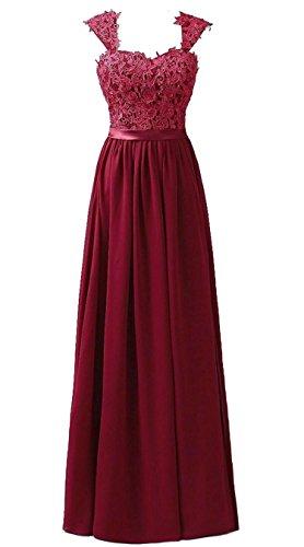 Vantexi Frauen Chiffon Lange Formal Abendkleider Ballkleid Abschlussball Kleider Burgund Größe 40