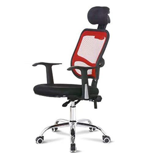 Wsaman Silla Escritorio, Silla Gaming Profesional con Ajustable Reposacabezas para Hogar Oficina Portátil Silla Escritorio Giratoria,Rosso