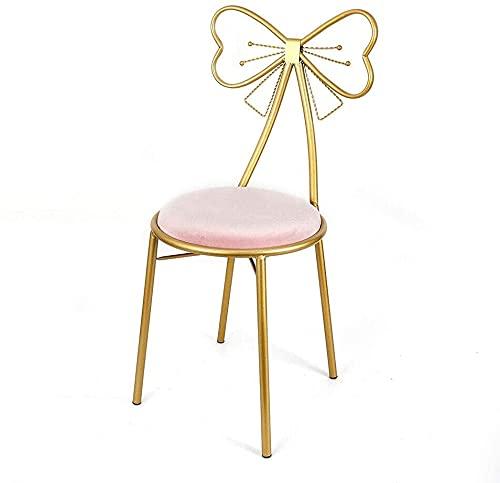 Silla de vanidad de Lazo de Lazo de la Mariposa de Oro, Rosa Velvet Cushion Metal Mark Lounge Cómoda Asiento con Respaldo, Uso para la Cocina Pub Dining Coffee Shop (Color : Pink)