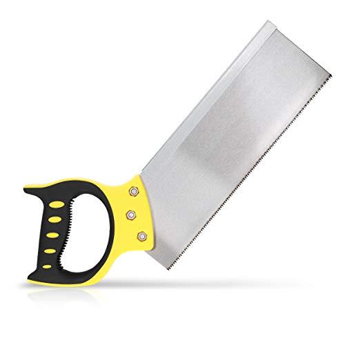 Navaris 300mm Feinsäge aus Stahl - gummierter Griff - Handsäge für Holz Kunststoff - Holzsäge für Gehrungsschnitte an Leisten - Mehrzwecksäge