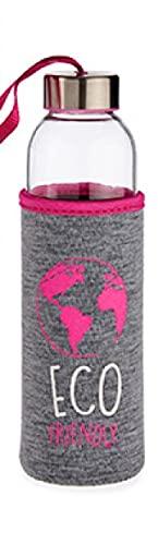 Botella de cristal – Botella de cristal sin BPA botella de agua con funda de tela 500 ml