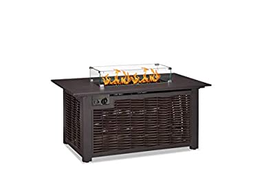 PURPLE LEAF 52 Inch 50,000 BTU Fire Table Outdoor Wicker Propane Fire Pit Table with Glass Wind Guard, Protective Cover, Patio Fire Pit Table