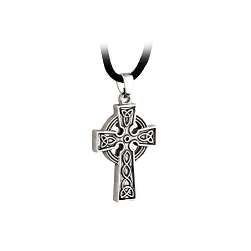 Solvar Mens Celtic Cross Necklace Stainless Steel Pewter Finish 20' Black Cord Irish Made