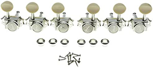 3L3R Guitar Vintage Style Locking Tuners Tuning Pegs Keys Guitar Machine Heads Guitar Part for Les Paul Guitars Nickel with Ivory Button