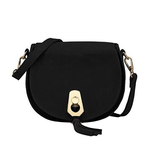 CRAZYCHIC - Damen Kleine Umhängetasche - Schultertasche Citytasche Wildleder PU - Clutch Abendtasche Handtasche - Franse Quaste Messenger Bag - Elegante Taschen - Schwarz