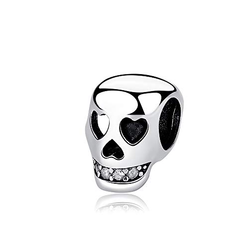 Charms 925 Sterling Silver fits Pandora Bracelets & Necklaces Skull Pendant Beads Cubic Zirconias for Women Girls Birthday Gift with Jewelry Box