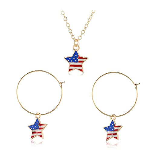 Juego De Joyas Simple Independence Day Star Star Large Metal Pendientes Collar Joyería De Mujeres