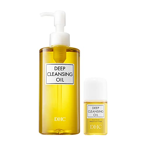 DHC Deep Cleansing Oil and Travel Size, Facial Cleansing Oil, Makeup Remover, Cleanses without Clogging Pores, Residue-Free, Fragrance and Colorant Free, All Skin Types, 6.7 fl. oz. and 1 fl. oz.