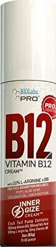 INNERGIZE B12 Cream - All Natural Topical B12 w/B6 & 10% L-Arginine - Advanced Neurological & PreWorkout Support - Professional Grade Methyl B12 - B6