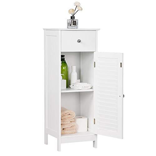 YAHEETECH Bathroom Floor Storage Cabinet, Free-Standing Side Storage Organizer Unit with Drawer and Single Shutter Door, White