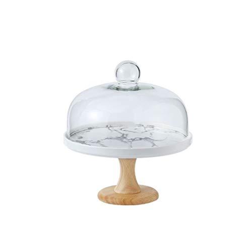 PETAAA High Cake Plate, Hotel Fruit Chocolade Proeverij Lade Keramische Schijf en Glas Cover Keuken Brood Sandwich Dome 8-11Inch