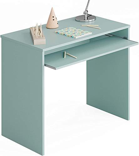 Habitdesign Mesa de Ordenador con Bandeja extraíble, Mesa Escritorio Juvenil, Modelo I-Joy, Color Verde Acqua, Medidas: 90 cm (Ancho) x 54 cm (Fondo) x 79 cm (Alto)