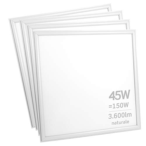 4x Pannelli LED 45W 60x60cm 3600 lumen - Luce Bianco Naturale 4000K - Fascio Luminoso 120°