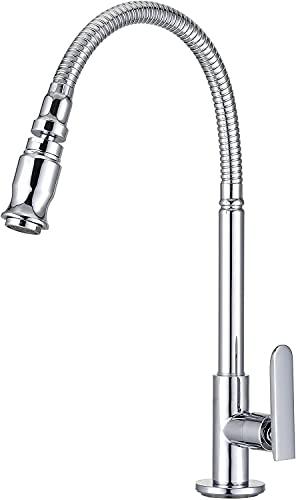 Grifo monomando para fregadero de cocina, extraíble, según sea necesario, giratorio, para inodoro, grifo de agua fría, cromado