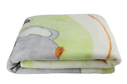 Manta para Bebe, Mantita para cuna 110x140, Manta Rachel estampada suave y cálida (Elefante Verde)