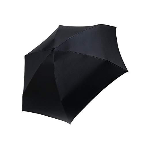 YNLRY Mini paraguas de bolsillo para mujer, resistente al viento, duradero, 5 paraguas plegable portátil, protector solar para mujer (color negro)