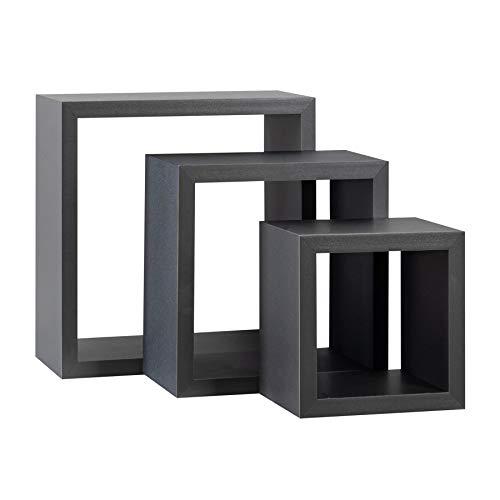 Harbour Housewares Mensola Quadrata a Scomparsa in Legno - Design a cubo - 3 Dimensioni Diverse - Grigio - 3 Pezzi
