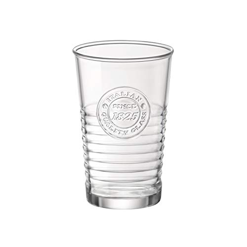 Bormioli Rocco Officina Water Glasses – Set Of 4 Clear Drinking Tumblers With Textured Ring Design & Vintage Stamp Logo – 11oz