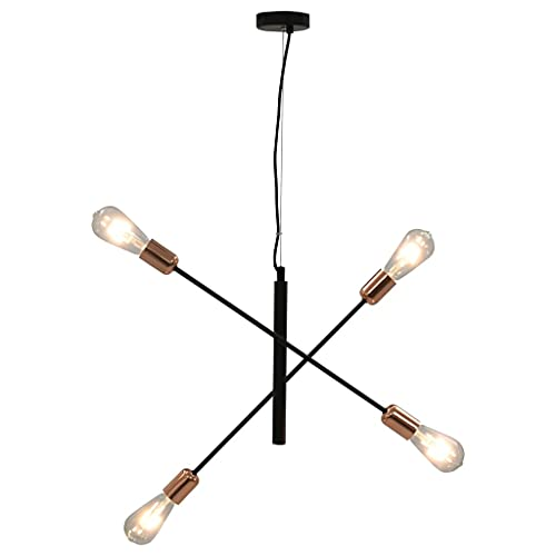 HUANGFINPI Colores: Negro y Cobre Lámpara de Techo Negro y Cobre E27