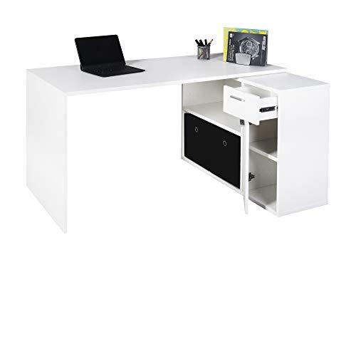 RICOO Schreibtisch Winkelkombination (WM083-WM) Holz Hell Matt-Weiß (Modell- & Farbauswahl) Büro-Arbeitstisch Computertisch Eckschreibtisch Lowboard Akten-Schrank Schubkasten Regal-Ablagen