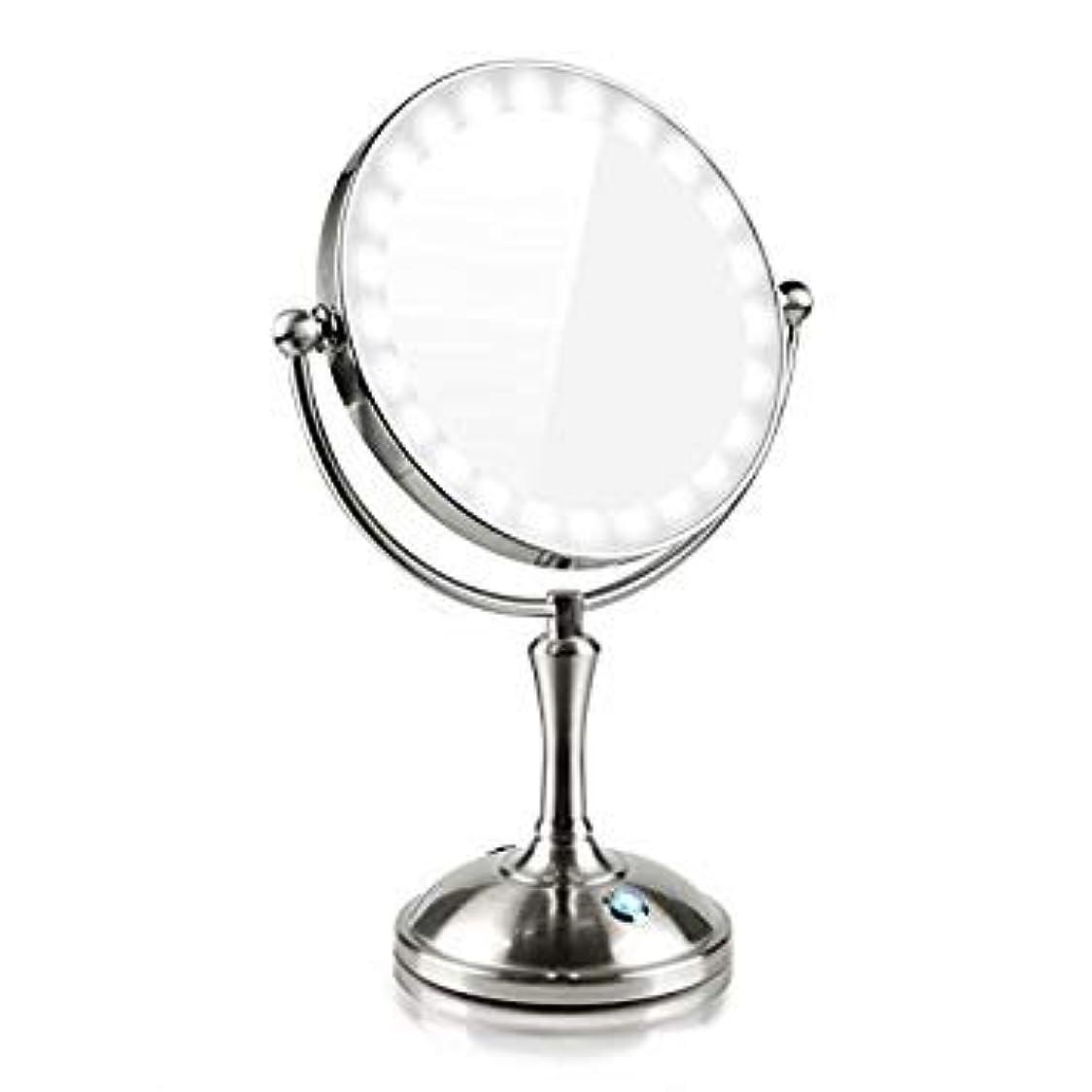 デコードする寝るセンサー化粧鏡 LEDの両面鏡 7倍拡大鏡 360度回転 卓上鏡 スタンドミラー メイク 化粧道具 有線ワイヤレスミラーライト タッチ制御で調光 USB/電池給電